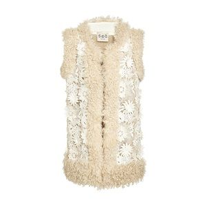NWT Sea Embroidered Flowers & Shearling Vest! Sz M